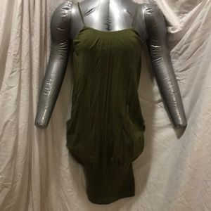 Bebe olive green spaghetti strap body dress/shirt